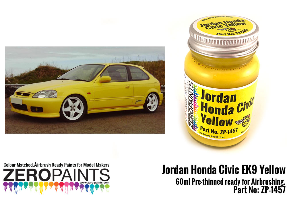 Jordan honda civic ek9 yellow paint 60ml zp 1457 zero for Metallic yellow paint