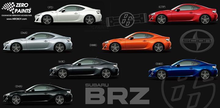 High Quality Toyota 86/Scion FR S/Subaru BRZ Paints 60ml
