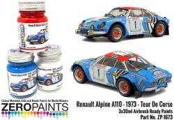Renault Alpine A110 – 1973 – Tour De Corse Red - White - Blue Paint Set 3x30ml