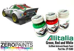 Alitalia (Lancia) Green, Red and White Paint Set 3x30ml