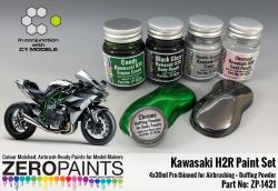 Kawasaki H2R Paint Set 4x30ml + Chrome Buffering Powder