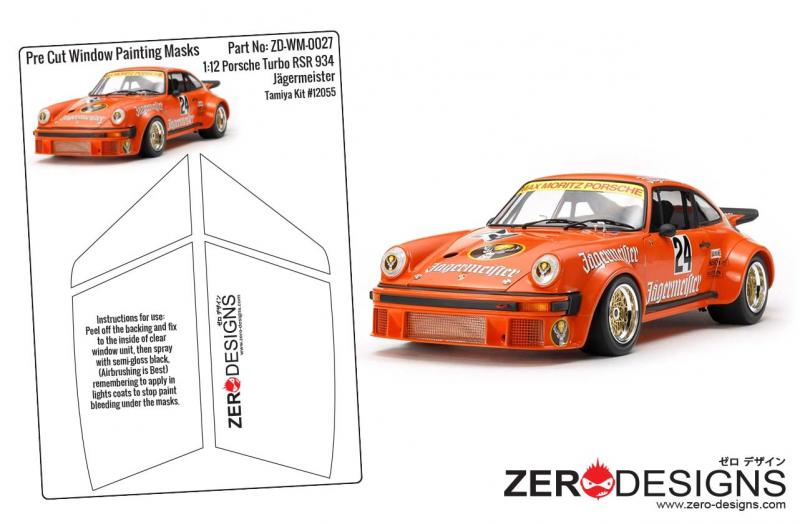 1:12 Porsche Turbo RSR 934 Jägermeister Pre Cut Window Painting Masks (Tamiya)