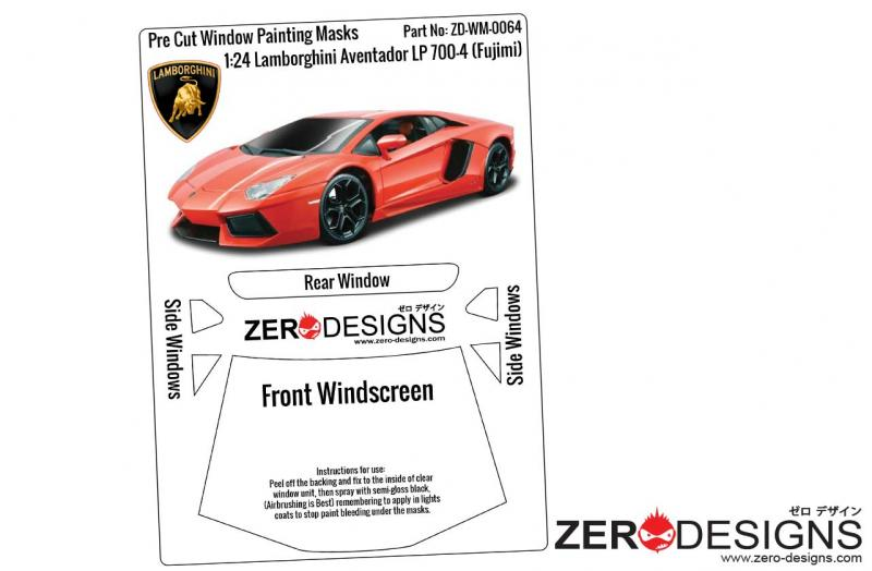1:24 Lamborghini Aventador LP 700-4 Pre Cut Window Painting Masks (Fujimi)