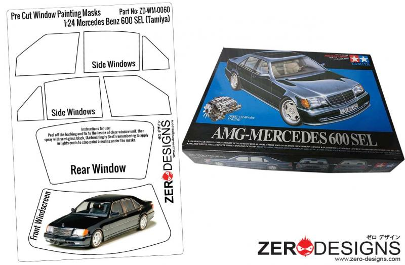 1:24 Mercedes Benz 600SEL Coupe Pre Cut Window Painting Masks (Tamiya)