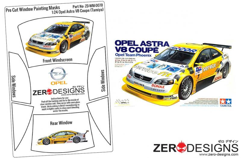 1:24 Opel Astra V8 Coupe Pre Cut Window Painting Masks (Tamiya)