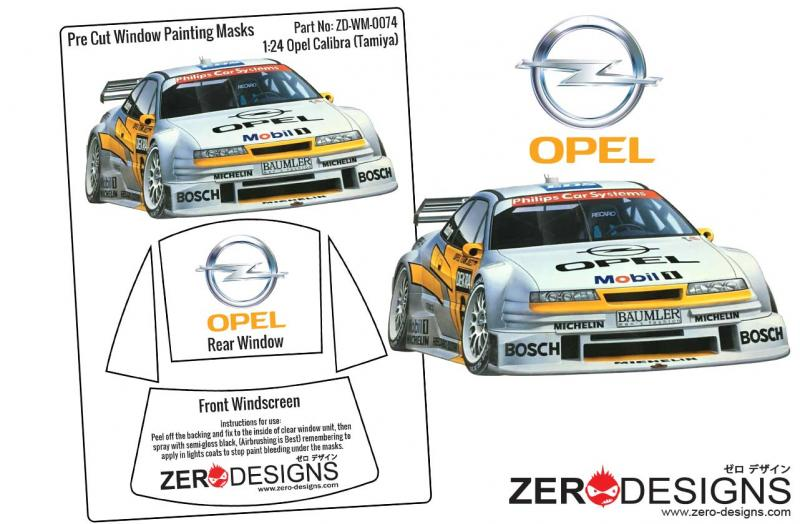 1:24 Opel Calibra V6 DTM Pre Cut Window Painting Masks (Tamiya)