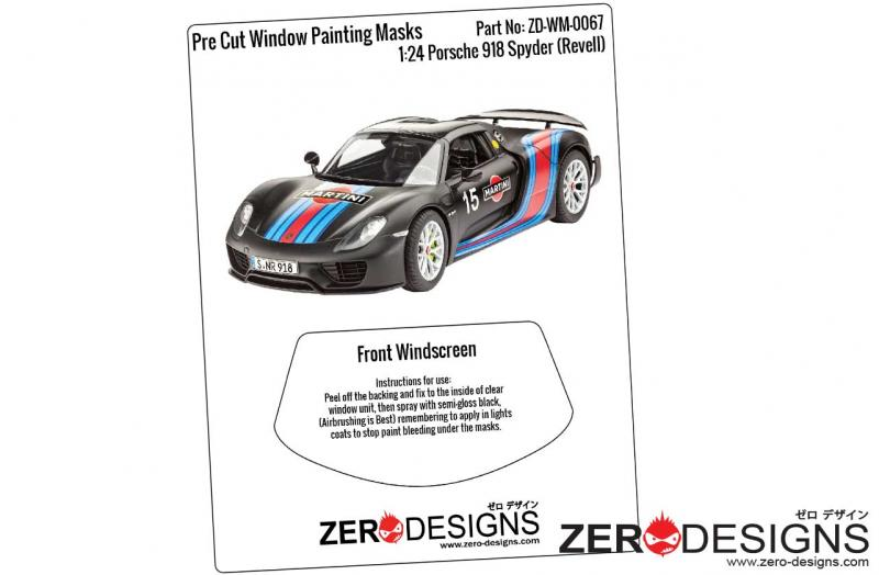 1:24 Porsche 918 Spyder Pre Cut Window Painting Masks (Revell)