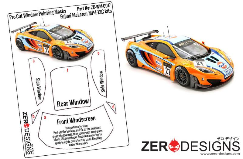 1:24 McLaren MP4-12C GT3 Window Painting Masks (Fujimi)