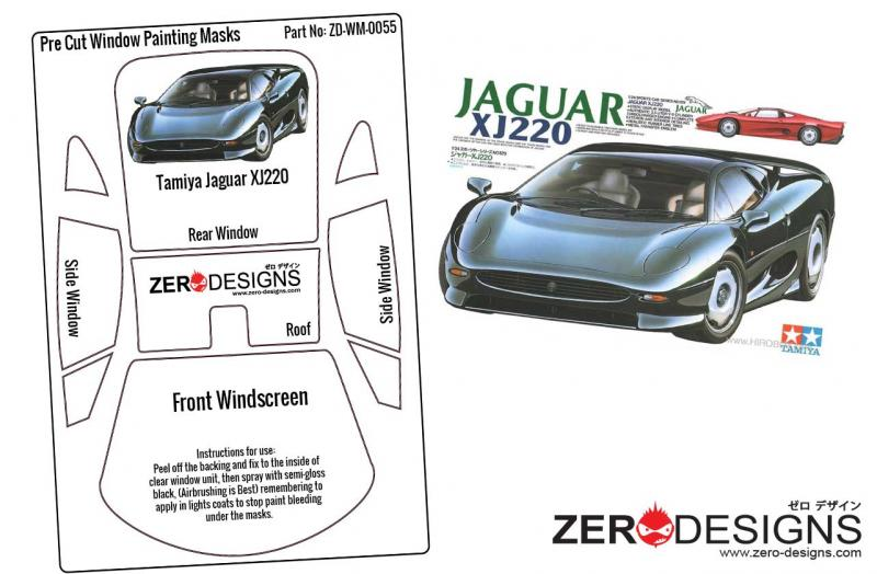 1:24 Jaguar XJ220 Pre Cut Window Painting Masks (Tamiya)