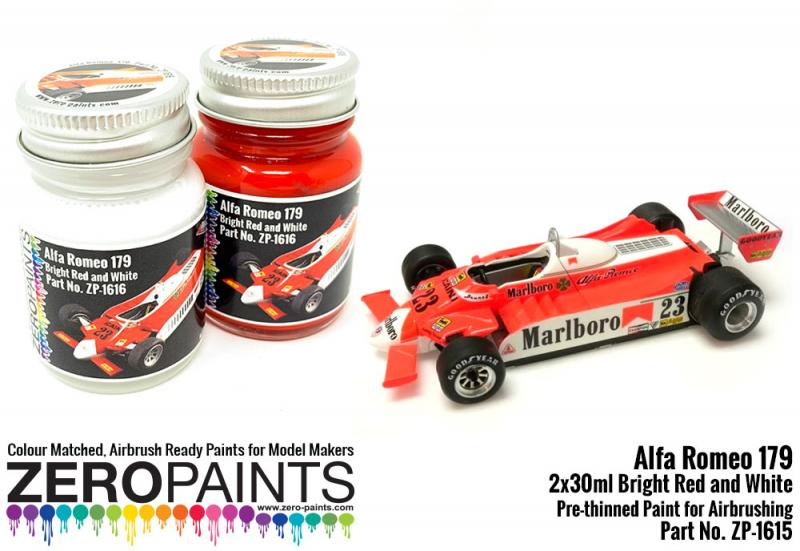 Alfa Romeo 179C Fluorescent Red and White Paint Set 2x30ml