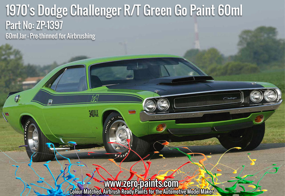 1970 S Dodge Challenger R T Green Go Paint 60ml Zp 1397