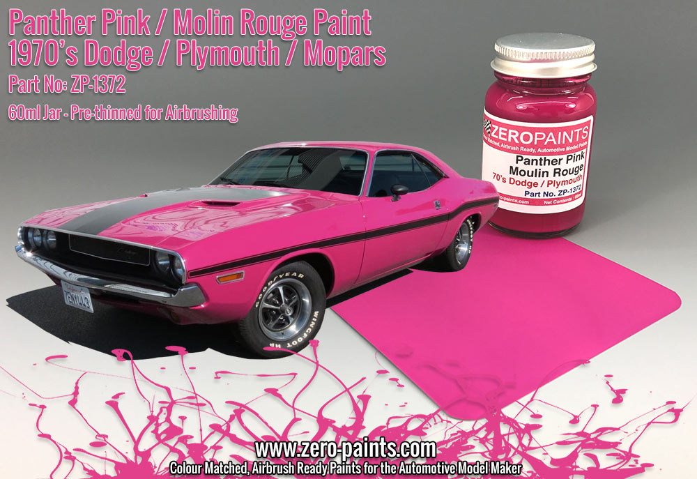 panther pink moulin rouge paint 70 39 s dodge plymouth mopar 60ml zp 1372 zero paints. Black Bedroom Furniture Sets. Home Design Ideas